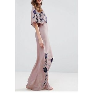 Tall premium maxi dress with embroidery